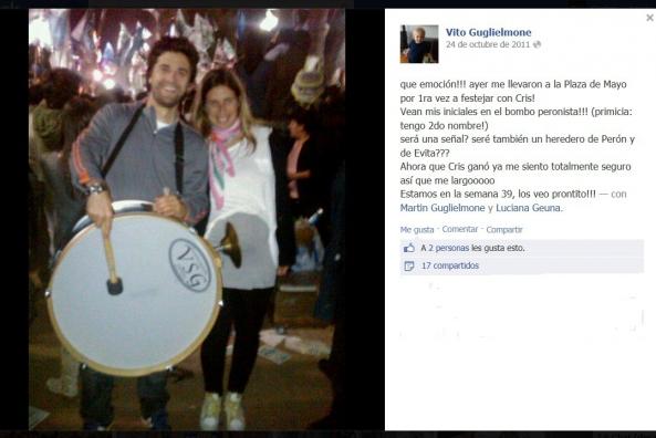 El amor después del amor. Los Rosarinos Luciana Geuna (periodista de Lanata) y su pareja (funcionario K) festejando el triunfo de Cristina en la plaza el 24/08/11