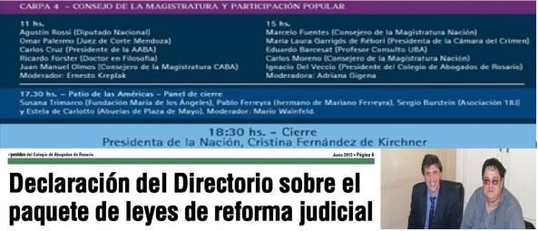 Democratización de la justicia. Gran preocupación por las contradicciones del Directorio del Colegio de Abogados de Rosario en torno al tema.